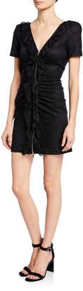 The Kooples Lace Ruffle Mini Open-Back Dress