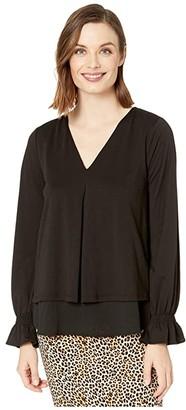 MICHAEL Michael Kors Long Sleeve Bell Inverted Pleat Top (Black) Women's T Shirt