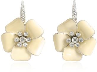 Rosato Sterling Silver and White Enamel Marigold Earrings