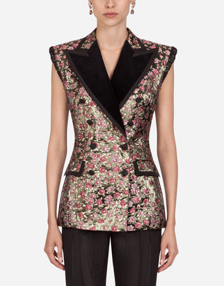 Dolce & Gabbana Double-Breasted Lame Jacquard Gilet Jacket
