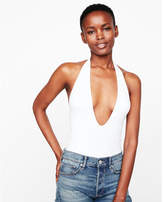Express deep v-neck halter thong bodysuit