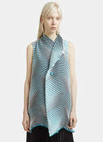 Issey Miyake Structural Sleeveless Flow Vest in Blue