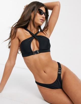 Candypants high leg thong bikini bottom with buckle detailing in black