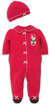Little Me Boys' Dotted Holiday Bear Footie & Hat Set