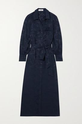 Cefinn Robyn Belted Satin-jacquard Midi Shirt Dress - Navy