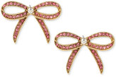 Betsey Johnson Gold-Tone Pink Pavé Bow Stud Earrings