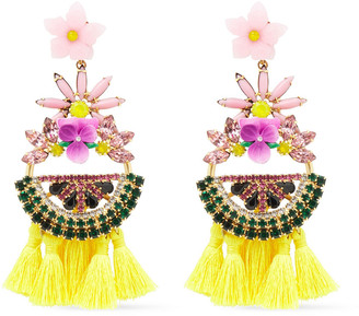 Elizabeth Cole 24-karat Gold-plated, Swarovski Crystal, Resin And Tassel Earrings