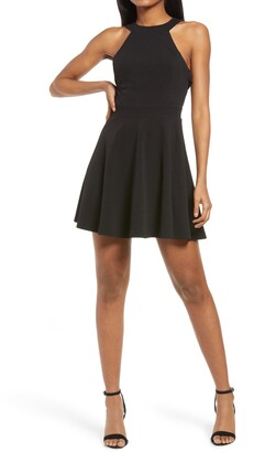 Lulus Keep Coming Back Backless Skater Dress
