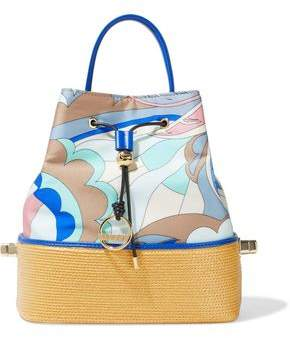 Emilio Pucci Bonita Woven Straw-paneled Printed Satin-twill Bucket Bag