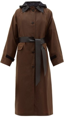Kassl Editions Hooded Single-breasted Waxed-cotton Coat - Brown Multi