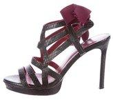 Lanvin Embossed Lace-Up Sandals