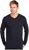 Calvin Klein Jeans L/S Henley Fine Line Stripe Top (Miners Coal) - Apparel