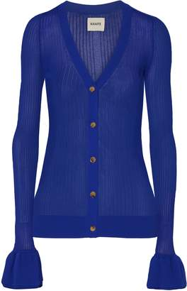 KHAITE Eloise Ribbed Stretch-knit Cardigan