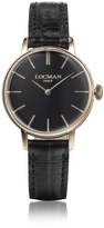 Locman 1960 Rose Gold PVD Stainless Steel Women's Watch w/Black Croco Embossed Leather Strap