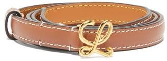 Loewe Monogram-buckle Leather Belt - Tan Gold