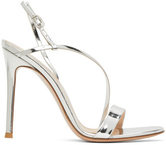Gianvito Rossi Silver Manhattan 105 Heeled Sandals