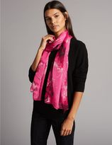 Marks and Spencer Pure Silk Floral Print Scarf