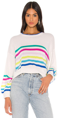 Autumn Cashmere Rainbow Striped Balloon Sleeve Sweater