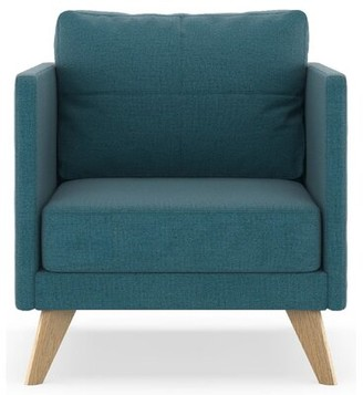 "Corrigan Studio Coyle 25.25"" Armchair Upholstery Color: Aegean Blue, Leg Color: Black"