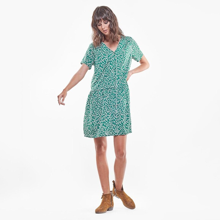 Thumbnail for your product : Le Temps Des Cerises Floral Mini Dress with V-Neck and Short Sleeves
