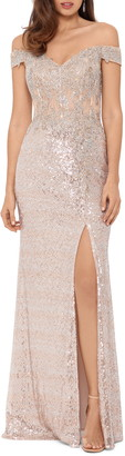 Xscape Evenings Sequin Embroidered Off the Shoulder Gown