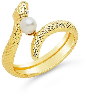 Sterling Forever 14K Yellow Goldplated Faux Pearl Snake Ring