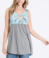 Cool Melon Women's Tank Tops Sky - Sky Blue & Fuchsia Floral Color Block Sleeveless Tunic - Women & Plus