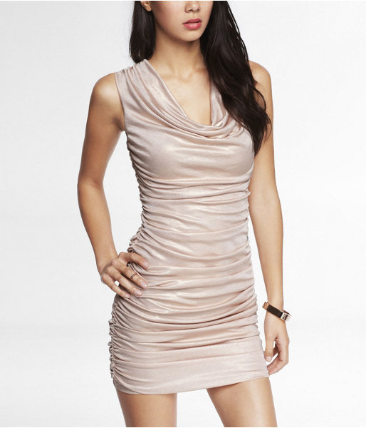 Express Ruched Foiled Jersey Dress