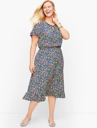 Talbots Floral Gathered Tie Neck Dress