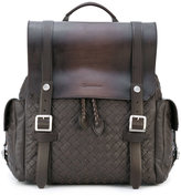 Santoni woven buckle backpack - men - Leather - One Size