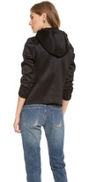 Tibi Quilted Oversized Hooded Moto Jacket