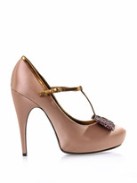 Lanvin Glitter-bow satin high heeled pumps