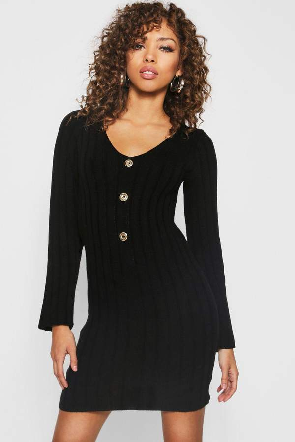 boohoo Long Sleeve Rib Knit Gold Button Front Dress
