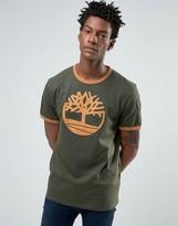 Timberland Logo Ringer T-Shirt In green