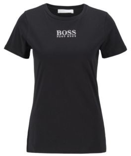 HUGO BOSS Crew-neck T-shirt in organic cotton with crystal logo