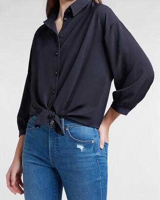 Express Tie Front Boyfriend Shirt