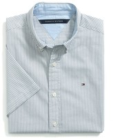 Tommy Hilfiger Custom Fit Short Sleeve Striped Oxford