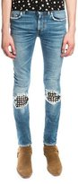 Saint Laurent Low-Waist Studded Leather-Patch Skinny Jeans, Medium Vintage Blue