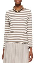 Joan Vass Long-Sleeve Striped Top, Women's