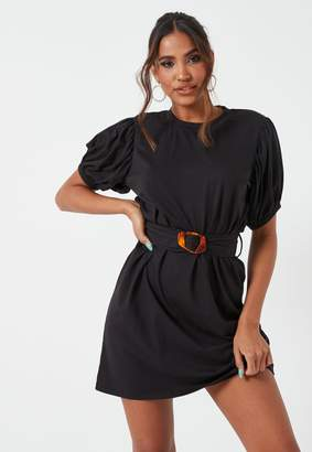 Missguided Black Puff Sleeve Belted Jersey Mini Dress