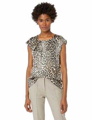Kasper Women's Cap Sleeve Jewel Neck Animal Print Blouse W/Keyhole
