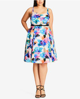 City Chic Plus Size Floral-Print Belted Fit & Flare Dress