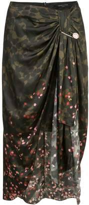 Mother of Pearl draped camouflage print skirt