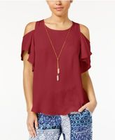 Amy Byer Juniors' Cold-Shoulder Top with Necklace