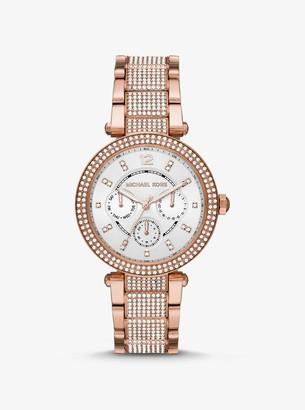 Michael Kors Oversized Parker Pave Rose Gold-Tone Watch