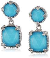 Judith Ripka Sterline Silver Double Ambrosia Earrings with Turquoise Doublet