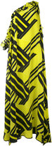 MSGM asymmetric printed dress - women - Silk - 42