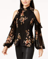 Astr Shae Floral-Print Pleated Cold-Shoulder Top
