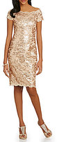 JS Collections Sequined Lace Off-the-Shoulder Sheath Dress