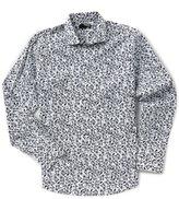 Murano Slim-Fit Liquid Luxury Long Sleeve Spread Collar Leaves Shirt
